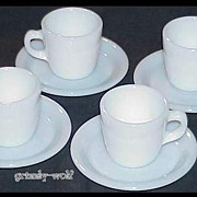 4 Fire King White W215 Cups - W295 Saucers Circa 1940 Restaurant Ware ~MINT~