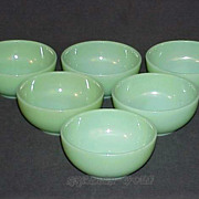 "6 Fire King Jadeite Jadite G291 - 10 oz. - 5"" Chili - Cereal - Soup Side Bowls"