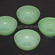 "4 Fire King Jadeite Jadite G291 - 10 oz. - 5"" Chili - Cereal - Soup Side Bowls"