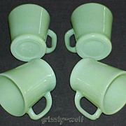 SOLD 4 Fire King Jadeite G1212 - 8 oz. D-Handle Mugs - Circa 1960 Jadite Cups