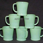 SOLD 6 Fire King Jadeite Flat Bottom D-Handle Shaving Mugs Circa 1940~Excellent Used