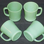 4 Fire King Jadeite Jadite G1212 D-Handle Mugs - Cups FireKing Circa 1950