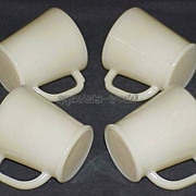 4 RARE Fire King Creamy Ivory Philbe Wannabe D-Handle Mug ~EXC TO NEAR MINT~