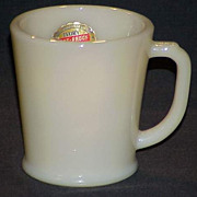 1 RARE Fire King Creamy Ivory Philbe Wannabe D-Handle Mug With Foil Label
