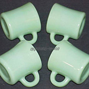 SOLD 4 Fire King Jadeite G212 - C-Handle Mugs - Jadite Cups Circa 1940 ~EXCELLENT~