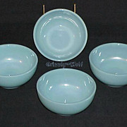 "4 Fire King Turquoise Blue B291 - 5"" Chili Side Bowls ~RARE~"