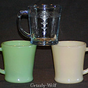 "Fire King ""Transition"" Jadeite~Ivory & Sapphire Blue Flat Bottom D-Handle Mugs ~BLOC"