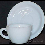 1 Set Fire King White Restaurant Ware W299 Cup - W295 Saucer ~RARE~