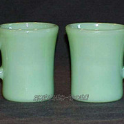 SOLD 2 Fire King Jadeite Restaurant Ware Slim Chocolate C-Handle Mugs - Cups ~EXCELLENT~