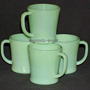 SOLD 4 Fire King Jadeite G1212 - 8 oz.D-Handle Mugs - Jadite Cups Circa 1940