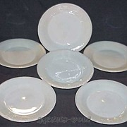 "6 Fire King Dark Ivory Jane Ray 9 1/8"" Dinner Plates ~SUPER RARE~"