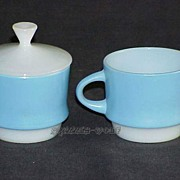 SOLD Fire King Blue Mosaic Stackable Creamer And Sugar With Lid ~MINT~