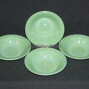 "4 Fire King Jadeite Jadite G305 ~ 6 1/4"" Flange Rim Cereal Bowls ~MINT UNUSED~"