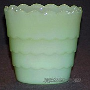"1 Fire King Jadeite Jadite 3 1/2"" Scalloped Bulb Flower Pot ~MINT~"