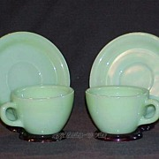 SOLD 2 Fire King Jadeite Jadite G299 Cups - G295 Saucers Restaurant Ware