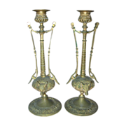 REDUCED Pair of Antique Art Nouveau French Gilt Bronze Candlesticks