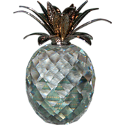 REDUCED Swarovski Crystal Pineapple with Hammered Rhodium Leaves