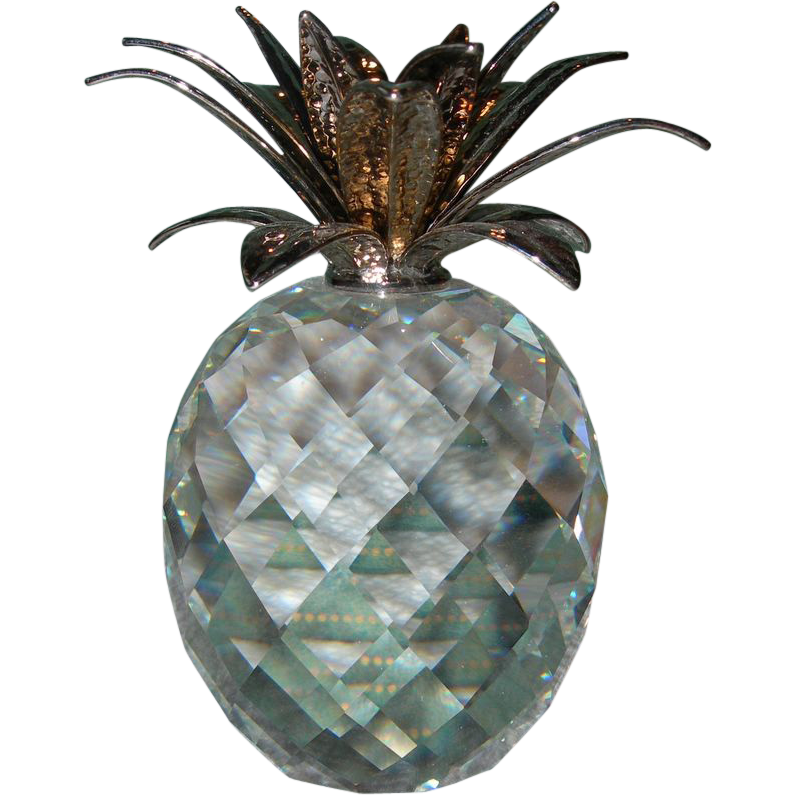 Swarovski Crystal Pineapple with Hammered Rhodium Leaves