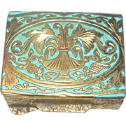 Italian Embossed Brass Pillbox with Inlay