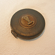 Antique Leather Bound Metal Winding Measuring Tape