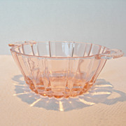 Pink Depression Glass Berry Bowl