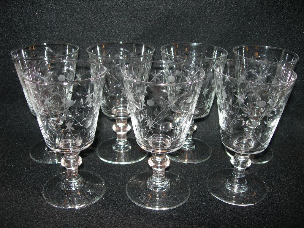 Set of 7 Vintage Cut Glass Goblets