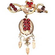 SALE Victorian Vermeil and Garnet Brooch