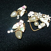 SALE Vintage Austrian Brooch & Earring Set