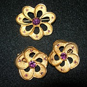 SALE Vintage Gold Tone & Amethyst Set