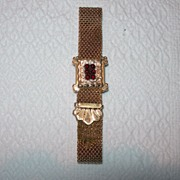 SALE Rolled Gold and Garnet Bracelet