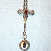 SALE Victorian Watch Fob with Brass and Garnets