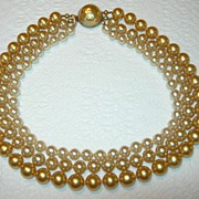 SALE Triple Strand Imitation Pearl Baroque Necklace