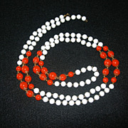 SALE Long White & Orange Beaded Necklace
