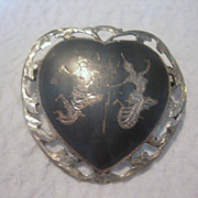 SALE Vintage Nielloware Heart Shaped Brooch
