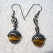 Sterling Silver & Tiger Eye Earrings
