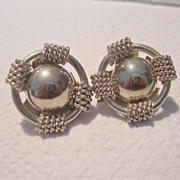 Large Vintage Silver Clip Earrings
