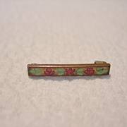REDUCED Antique Tailled' e'pergne enameled bar pin