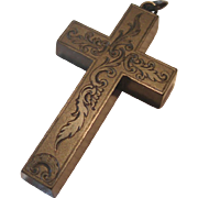 REDUCED Large Victorian Gutta Percha Cross Pendant