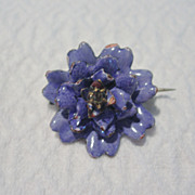 Enamel Flower Brooch with Clear Glass Accent