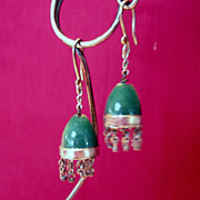 Vintage Jade Nephrite Earrings from North African Belly Dancer's Collection