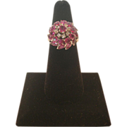 REDUCED Vintage White 18 KT Gold Ruby and Diamond Ring