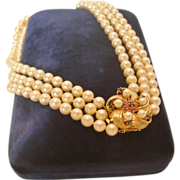 REDUCED Triple Strand Pearl Necklace with Sapphire and Pearl Floral Clasp
