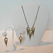 Art Deco Czech Glass Necklace & Earring Set