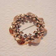 Vintage Renior Copper Wreath Brooch