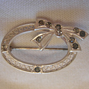SALE Sterling Silver and Glass Brooch