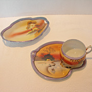Vintage Japanese Porcelain Landscape 3-Piece Tea Set