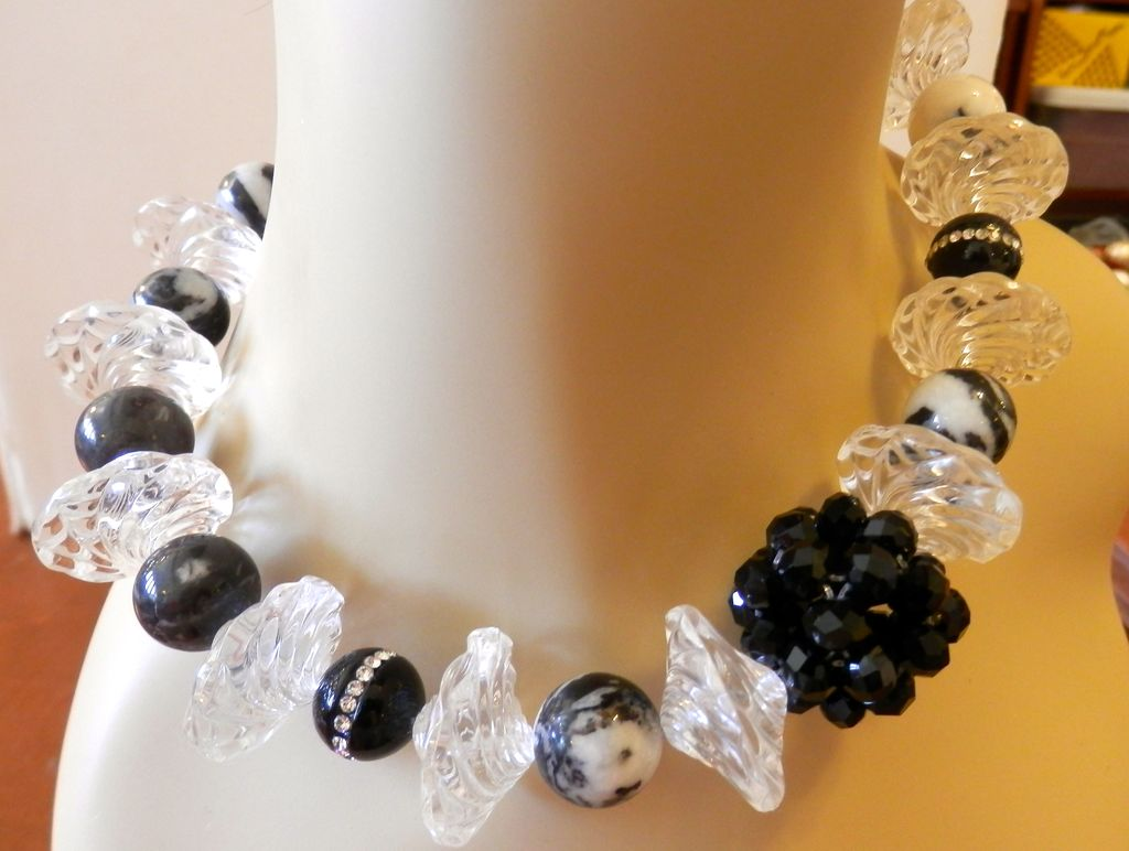 Black and White Lucite and Agate Artisan Necklace