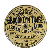 The Brooklyn Times Tin Advertising Pin Keep - Pin Flat - Pin Holder - Pin Disc - Pin Cushion -