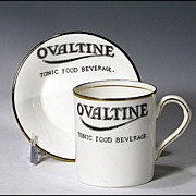 Ovaltine Advertising Staffordshire Cup and Saucer by E. Hughes - Demitasse Size