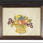 Folk Art Theorem Painting of a Bowl of Fruit